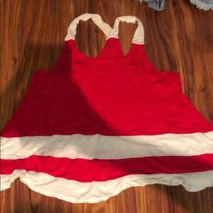 Red Tank Top with White Strips